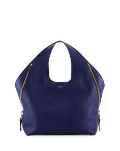 Jennifer+Side-Zip+Leather+Hobo+Bag,+Cobalt+by+TOM+FORD+at+Neiman+Marcus.