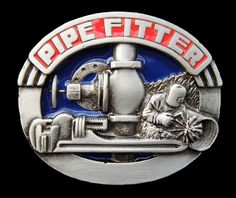 PIPE-FITTERS PLUMBERS PIPING WORKERS EQUIPMENT PROFESSIONS TOOLS BELT BUCKLE