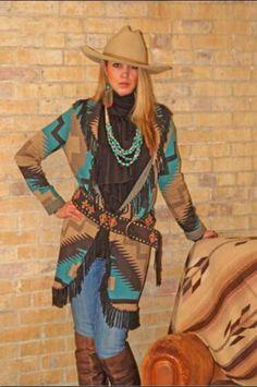Make mine cowgirl style - Tasha Polizzi Red Horse Turquoise and Tan Cardigan