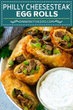 Philly Cheesesteak Egg Rolls - Dinner at the Zoo Egg Roll Recipes, Steak Recipes, Cooking Recipes, Muffin Recipes, Cooking Ideas, Cheesesteak Egg Rolls, Cheesesteak Recipe, Appetizer Dishes, Appetizer Recipes