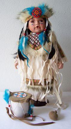 "16"" Porcelain DOLL NATIVE AMERICAN CHILD Lt. Beige Tan DRUM Drumsticks DIVERSITY #Kinnex #NativeAmericanDollwithOutfitAccessories"
