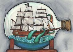 Ship in a Bottle Being Attacked By a Kraken  5 x 7 by BlackKatLuck