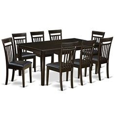 East West Furniture HECA9CAPLC 9Piece Dining Room SetDining Room Table with Leaf Plus 8 Dining Chairs *** Check out the image by visiting the link.Note:It is affiliate link to Amazon.