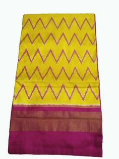 Yellow Handloom  Ikkat Silk Saree Ikkat Silk Sarees, Soft Silk Sarees, Wedding Saree Collection, Dress Indian Style, Elegant Saree, Buy Sarees Online, Saree Wedding, Ikat, Cotton Dresses