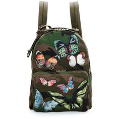 Valentino Camo-Print Butterfly Backpack (44 720 ZAR) ❤ liked on Polyvore featuring bags, backpacks, multi, valentino bags, canvas knapsack, butterfly backpack, backpacks bags and flat bags