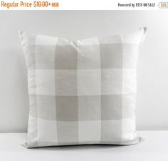 Buffalo Checkered Pillow cover. French Grey Country Decor. Choose Size & Color.  This listing is for 1 piece of French Grey and white pillow