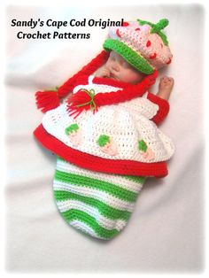 Strawberry Babycake Crochet Pattern Cocoon and Hat Set PDF 700