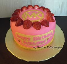 Pink and gold Michael Kors Birthday Cake with Real Strawberries