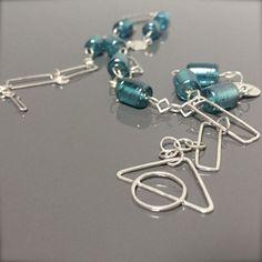 MetalObjects -  NaCI H2O AQUA MARINE bead necklace 24 inch silver link chain #etsymetalteam