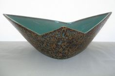 INCREDIBLE Signed MID CENTURY Modern ART Pottery BOWL or VASE Japanese GEOMETRIC