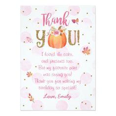 Autumn Fall Pumpkin Birthday Thank You Card