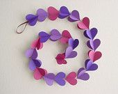 3D Heart Garland - Shades of Purple Hearts-Paper Mobile-Nursery Decor-Crib Mobile-Baby-Kids-Wedding-Valentine-Baby Shower Gift