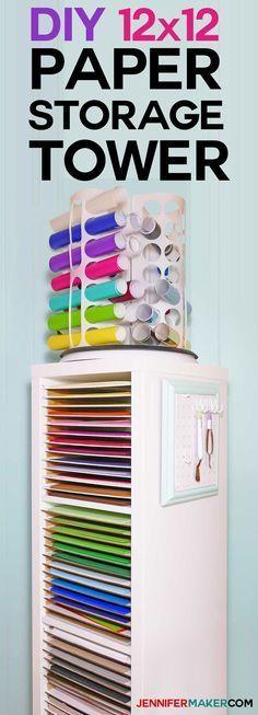 DIY 12x12 Scrapbook Paper Storage Organizer Tower | IKEA Hack
