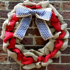 Red White and Blue Burlap Wreath by KsSouthernCharm on Etsy
