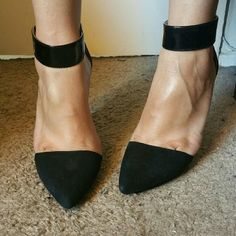 CLEARANCE ❤ Jeffrey Campbell ankle strap heel ❤ Authentic black Jeffrey Campbell heels. Beautiful & glamorous heels.  Worn a few times but only in doors. Minimum to barely no wear on bottom of soles. Small knick on side of heel as shown in picture. Pictures also show hardly no wear & in excellent condition. Goes with anything.  No box.. Currently PRICE IS FIRM  Jeffrey Campbell Shoes Heels