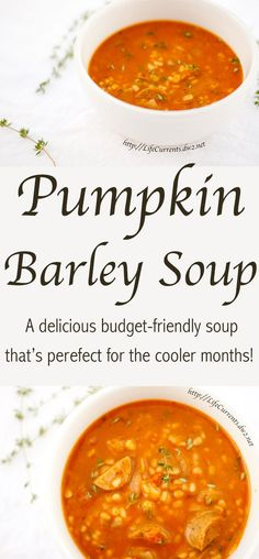 Pumpkin Barley Soup - a great vegetarian budget-friendly soup that's perfect for the cooler months! Dig in!