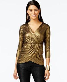 Thalia Sodi Gold-Tone Lame Wrap Top, Only at Macy's