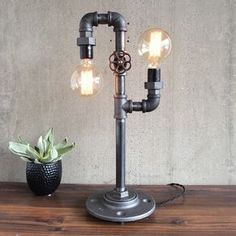 Industrial Edison Bulb Light - Iron Pipe Table Lamp by Jay Harrison
