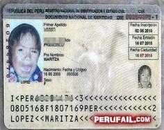 DNI (ID card) para menor de edad en Perú.   Fuente: Peru Fail (27 de agosto de 2014).