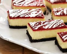 White Chocolate-Raspberry Cheesecake Bars Fancy chic - Could be made in bite size too.