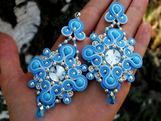 Ribbon Jewelry, Diy Jewelry, Jewelery, Jewelry Design, Jewelry Making, Soutache Earrings, Big Earrings, Blue Necklace, Ring Necklace