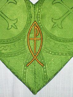 Clergy stole, GREEN for common season Liturgical vestment on minister robe (142ST100PShepTh2arm). $175.00, via Etsy.