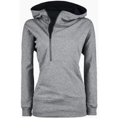 Trendy Hooded Long Sleeve Zippered Solid Color Women s Hoodie ($44) ❤ liked on Polyvore featuring tops, hoodies, grey, long sleeve hoodie, hooded sweatshirt, long sleeve hoodies, hooded zip sweatshirt and sweatshirt hoodies