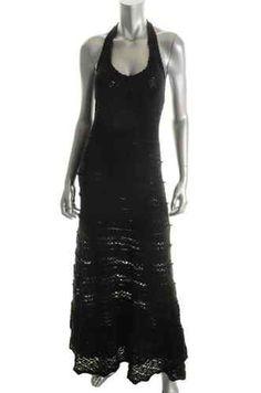 Famous Catalog Moda NEW Black Crochet Fit N Flare Maxi Casual Sweaterdress XS