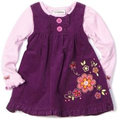 Youngland Baby-girls Newborn Floral Corduroy Jumper with Ruffles on Bodice