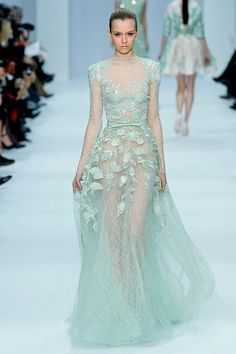 Elie Saab Haute Couture 2012 Mint Dress  More atb-eautifully-inspired.tumblr.com