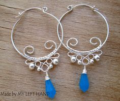 Silver Wire Wrapped Hoop Stetament Earrings by MadeByMyLeftHand