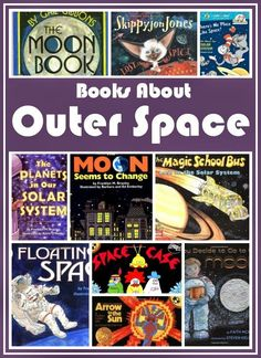 Great collection of books about outer space, the planets, the moon, and the sun to use for a preschool theme or unit. Includes fiction and non-fiction. Space Theme Preschool, Space Activities, Preschool Books, Preschool At Home, Preschool Science, Science Books, Teaching Science, Science Activities, Preschool Crafts