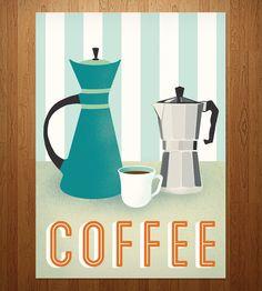 Retro Coffee Print by Jenny Tiffany on Scoutmob Shoppe. Mid-century style art for the caffeine worshiper. #coffee #print #retro