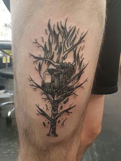 Burning treehouse by Joseph Harper @ Parliament Tattoo London UK