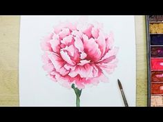 [LVL4] How to paint a Carnation Flower in watercolor - YouTube