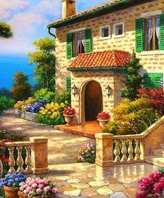 Beautiful Landscape Wallpaper, Beautiful Landscapes, Nature Paintings, Beautiful Paintings, Landscape Art, Landscape Paintings, Beautiful Homes, Beautiful Places, Cottage Art