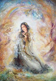 Mahmoud Farshchian Biography & Art, Persian Miniature Painting - Ahreeman X Caricatures, Iranian Art, Goddess Art, Mystique, Realistic Paintings, Celtic Art, Celtic Dragon, Calligraphy Art, Islamic Calligraphy