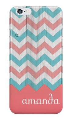 Personalized Teal & Coral Wood Chevron iPhone or Samsung Galaxy Case, Rustic Phone Case, Shabby Chic Phone Case, Chevron Phone Case