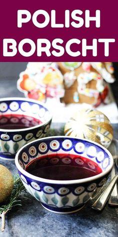 "Borscht (Barszcz Czerwony) is an authentic Polish soup, traditionally served on Christmas Eve with Mushroom ""Uszka"" Pierogi. Christmas Soup, Christmas Desserts, Christmas Eve, Holiday, Soup Recipes, Cooking Recipes, Souffle Recipes, Beet Recipes, Drink Recipes"