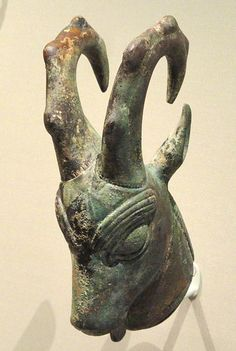 File:Ibex-Head Ornament, about 525-450 BC, Achaemenid, Iran, bronze - Cleveland Museum of Art -