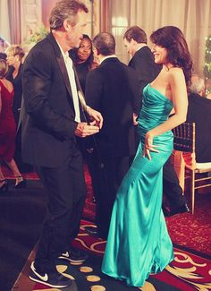 "Hugh Laurie and ""House"" co star Lisa Edelstein"