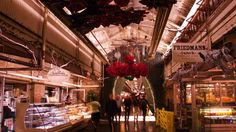 Festive decorations have been hung overhead in the halls Chelsea Market's 6,000-square-foot space.