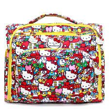 Ju-Ju-Be BFF in Hello Kitty Tick Tock - a convertible diaper bag with backpack and messenger tote straps... It has so many pockets for organization and a mommy pocket. It's a great bag for on the go or light outings. But don't let the size fool you, it fits a Be Quick and a Fuel cell if needed. It packs pretty good.