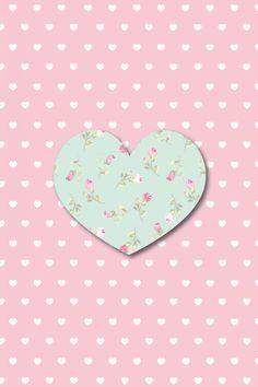 Floral Heart & Polka Dots Iphone Wallpaper.