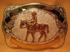 BIG Old Store Inventory HEAVY Hand Made 2 Banner PLEASURE RIDER BELT BUCKLE