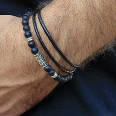 Black Leather Mens Bracelet Beaded Matte Onyx Greek Key Charm Bracelet stack #Handmade #Beaded
