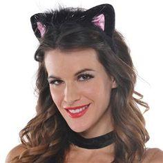 Black & Pink Cat Ears Headband - 348921 | trendyhalloween.com #halloweenaccessories