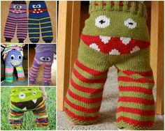 Baby Knitting Patterns Pants These awesome cute monster pants are extremely popular, and the great thing … Baby Knitting Patterns, Knitting For Kids, Baby Patterns, Knitting Projects, Crochet Projects, Crochet Patterns, Knitting Ideas, Free Knitting, Häkelanleitung Baby
