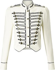 Buy Somerset by Alice Temperley Military Jacket, Ivory from our Women's Coats & Jackets range at John Lewis & Partners. Military Field Jacket, Military Style Jackets, Army Jackets, Military Inspired Fashion, Military Fashion, White Cropped Jacket, Somerset By Alice Temperley, Steampunk Jacket, Dance Costumes