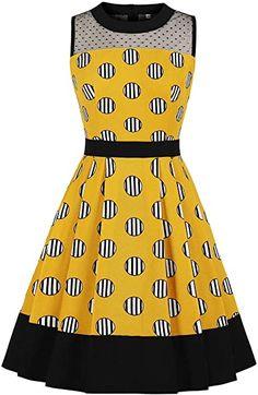 Womens Yellow Vintage Retro Rockabilly Dress Striped Polka Dots Print Sleeveless Swing A Line Dress - Vinfemass Mesh Dress, Dot Dress, Vintage Summer Dresses, Dress Vintage, Dress Robes, Yellow Fashion, Retro Dress, Striped Dress, Dress Black